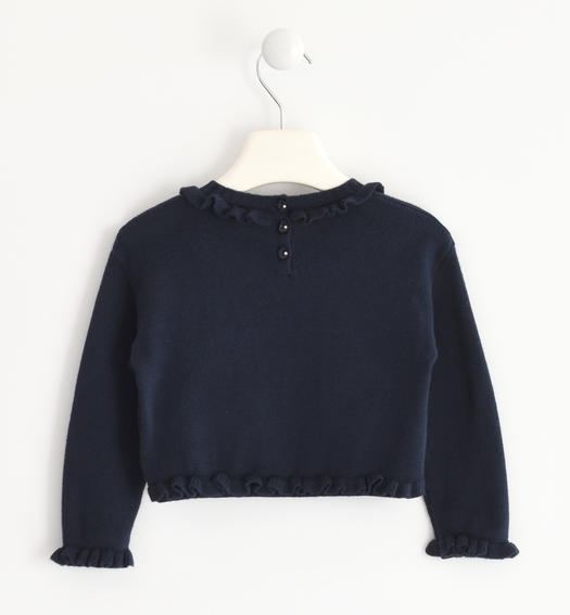 "Sweater in winter tricot enriched by the lettering ""Love"" for baby girls from 6 months to 7 years Sarabanda NAVY-3885"