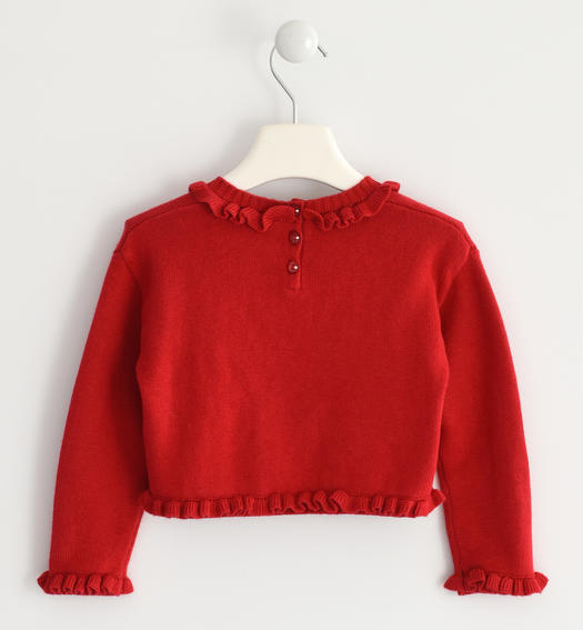 "Sweater in winter tricot enriched by the lettering ""Love"" for baby girls from 6 months to 7 years Sarabanda ROSSO-2253"