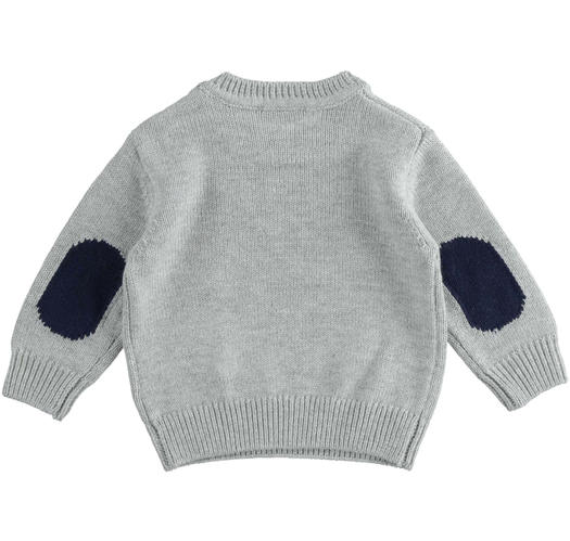 Crewneck knit sweater of cotton, viscose and cashmere blend fabric for newborn from 0 to 24 months Minibanda GRIGIO MELANGE-8992