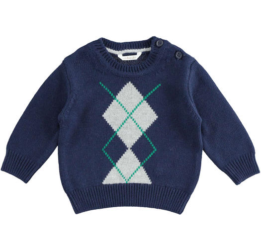 Crewneck knit sweater of cotton, viscose and cashmere blend fabric for newborn from 0 to 24 months Minibanda NAVY-3854