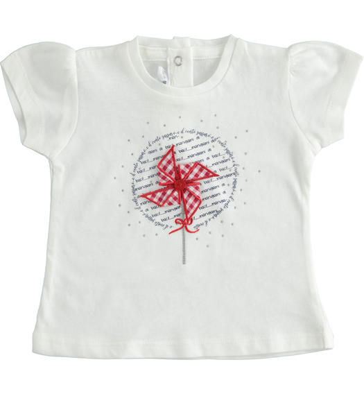 100% cotton short sleeve t-shirt for baby girl with pinwheel for baby girl from 0 to 24 months Minibanda BIANCO-0113