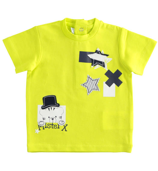 Newborn short-sleeved cotton t-shirt lime colour for baby boy from 0 to 24 months Minibanda VERDE-5243