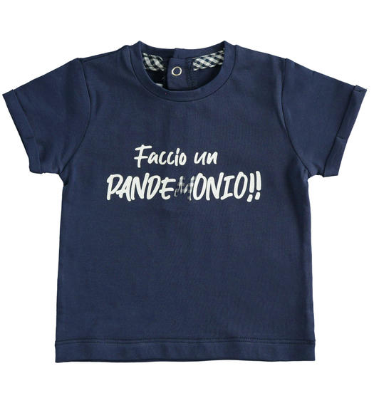 Newborn short-sleeved cotton t-shirt with Vichy details for baby boy from 0 to 24 months Minibanda NAVY-3854
