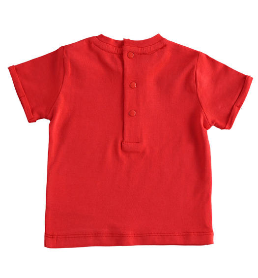 Newborn short-sleeved cotton t-shirt with Vichy details for baby boy from 0 to 24 months Minibanda ROSSO-2256