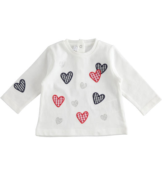 Long-sleeved 100% cotton t-shirt for baby girl with Vichy heart print for baby girl from 0 to 24 months Minibanda BIANCO-MULTICOLOR-8438