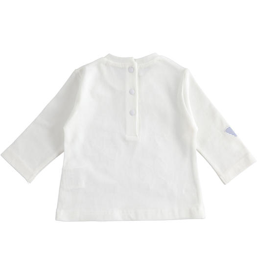 100% cotton long sleeves t-shirt for newborn girl from 0 to 24 months Minibanda BIANCO-0113