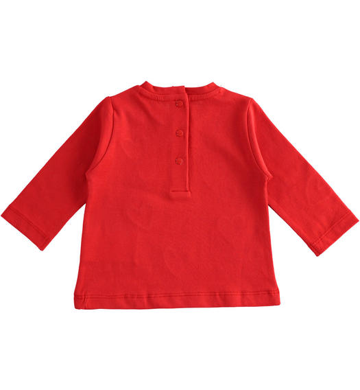 100% cotton long sleeves t-shirt for newborn girl from 0 to 24 months Minibanda ROSSO-2256
