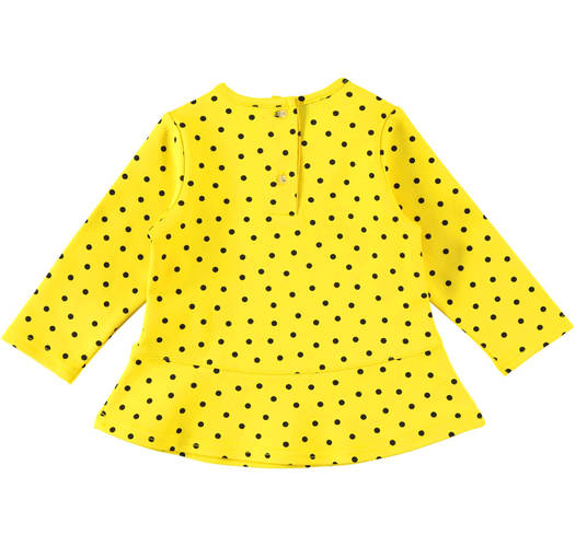 Sarabanda shirt with little dots and glitter wording for girls from 6 months to 7 years of age GIALLO-NERO-6AM9