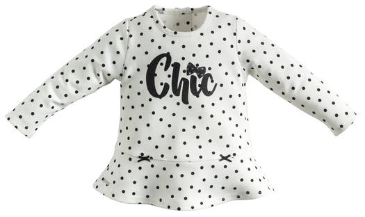 Sarabanda shirt with little dots and glitter wording for girls from 6 months to 7 years of age PANNA-NERO-6J19