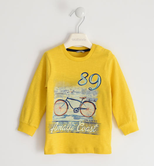 100% cotton crew neck t-shirt with Amalfi print for baby boy from 6 months to 7 years Sarabanda GIALLO-1446