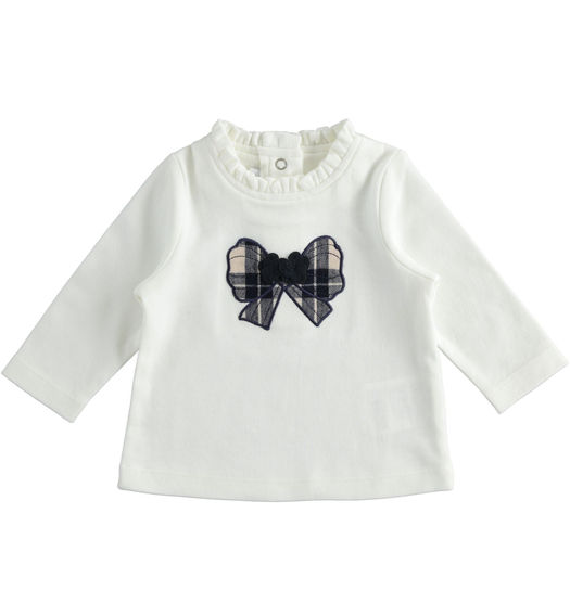 Minibanda crew neck t-shirt with check pattern bow for newborn girl from 0 to 24 months PANNA-0112