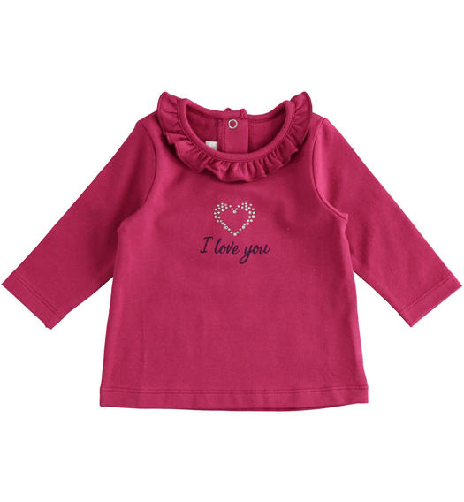 Crew neck t-shirt with gold foil and bow for newborn girl from 0 to 24 months Minibanda BORDEAUX-2654