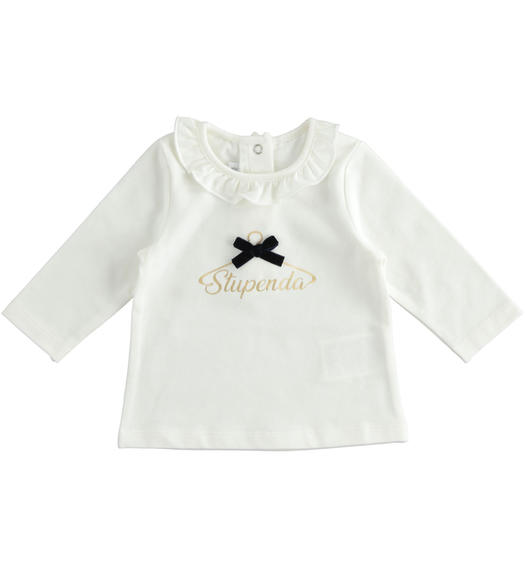 Crew neck t-shirt with gold foil and bow for newborn girl from 0 to 24 months Minibanda PANNA-0112