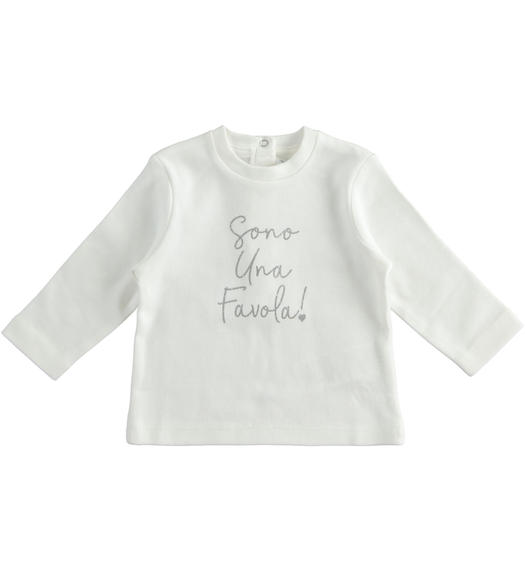 """I m wonderful"" interlock crew neck t-shirt for newborn girl from 0 to 24 months Minibanda PANNA-0112"