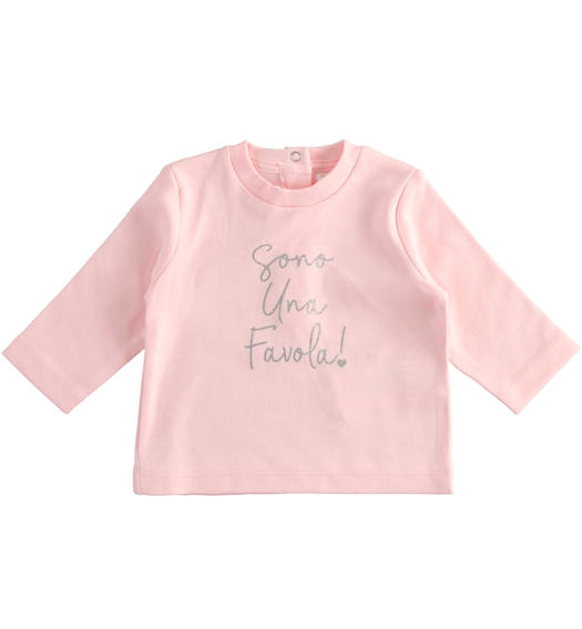 """I m wonderful"" interlock crew neck t-shirt for newborn girl from 0 to 24 months Minibanda ROSA-2763"