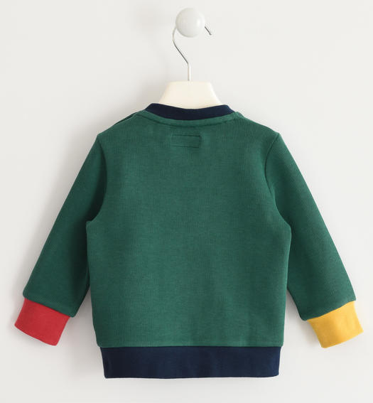 Crew-neck shirt in special interlock 100% cotton with letters for baby boys from 6 months to 7 years Sarabanda VERDE-4554