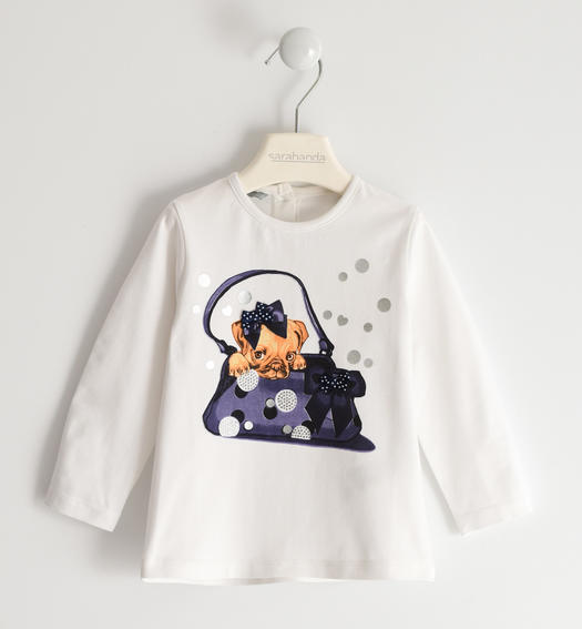 Sarabanda long sleeve T-shirt with sweet little dog for girl from 6 months to 7 years BIANCO-0113