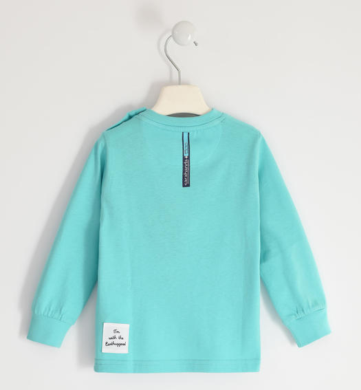 "Turquoise t-shirt 100% organic cotton ""Sarabanda interprets 500e"" for boy from 6 months to 7 years Sarabanda TURCHESE-4414"