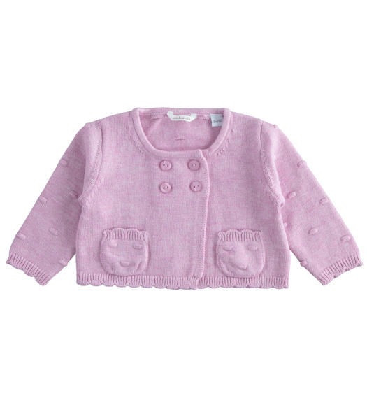 Long-sleeved sweater with popcorn stitching for newborn girl from 0 to 24 months Minibanda CICLAMINO MELANGE-8855