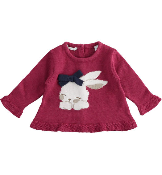 Newborn girl crew neck sweater with bunny from 0 to 24 months Minibanda BORDEAUX-2654