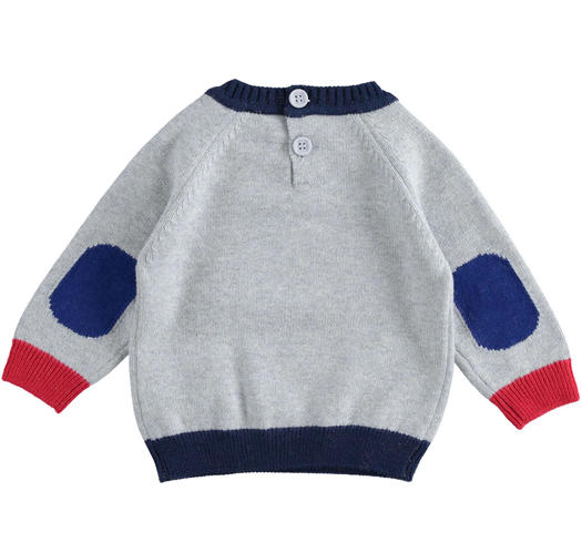 Cotton and wool blend newborn baby crew neck tricot sweater from 0 to 24 months Minibanda GRIGIO MELANGE-8992