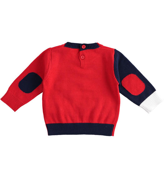100% cotton crew neck tricot sweater for baby boy from 0 to 24 months Minibanda ROSSO-2256