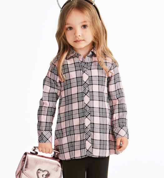 Maxi shirt made of viscose with a macro check pattern for baby girls from 6 months to 7 years Sarabanda ROSA-2513