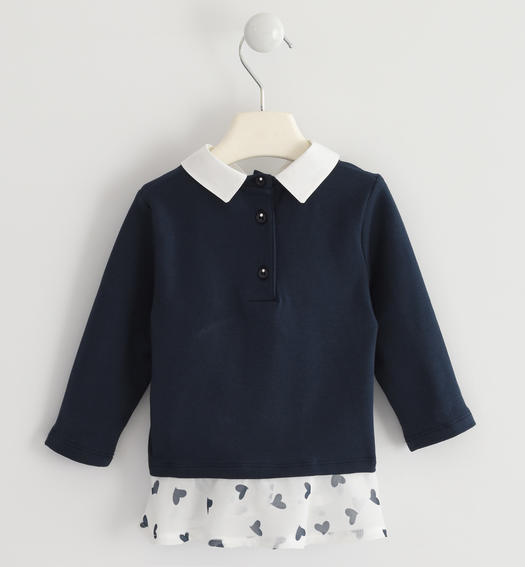 Maxi sweatshirt enriched with sequin embroidery for baby girls from 6 months to 7 years Sarabanda NAVY-3885
