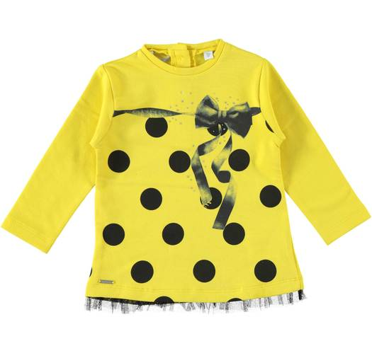 Sarabanda maxi stretch sweatshirt with glitter tulle, ribbon and dots for girls from 6 months to 7 years of age GIALLO-1433