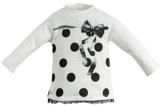 Sarabanda maxi stretch sweatshirt with glitter tulle, ribbon and dots for girls from 6 months to 7 years of age PANNA-0112