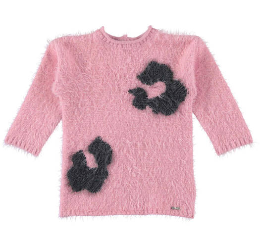 Sarabanda mini furry dress with big spots for girls from 6 months to 7 years of age CIPRIA-2753