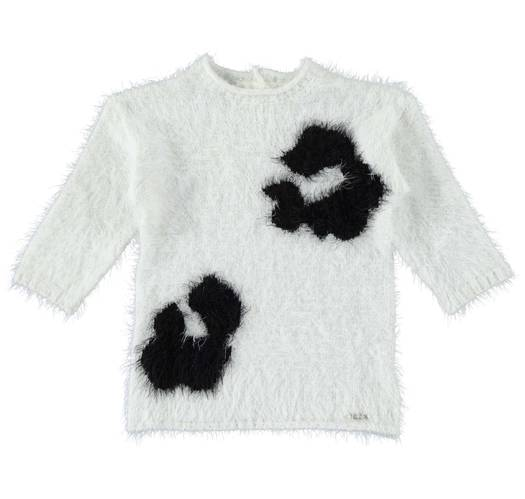 Sarabanda mini furry dress with big spots for girls from 6 months to 7 years of age PANNA-0112