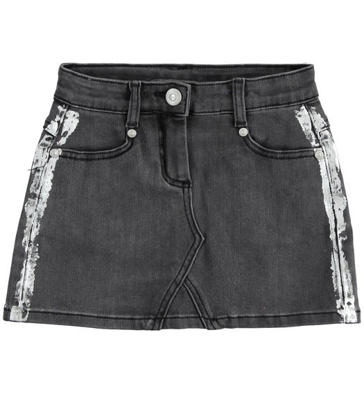 Mini gonna in denim stretch per bambina da 6 a 16 anni Sarabanda NERO-7990
