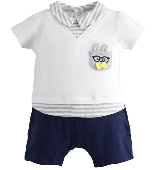 This newborn boy romper of stretch cotton is very comfortable for baby boy from 0 to 24 months Minibanda NAVY-3854
