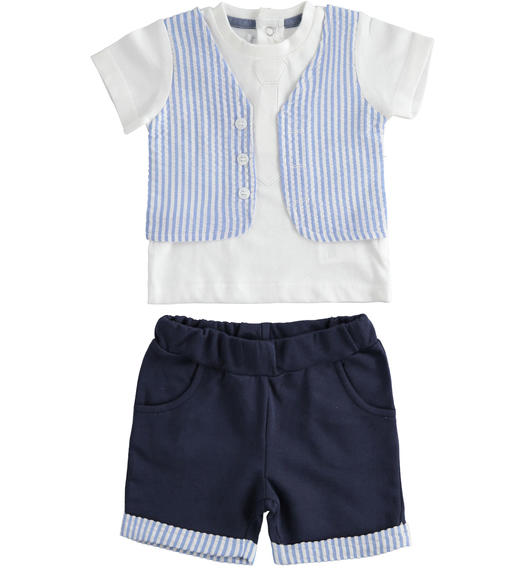 This two-piece 100% cotton newborn baby set is very particular for baby boy from 0 to 24 months Minibanda NAVY-3854