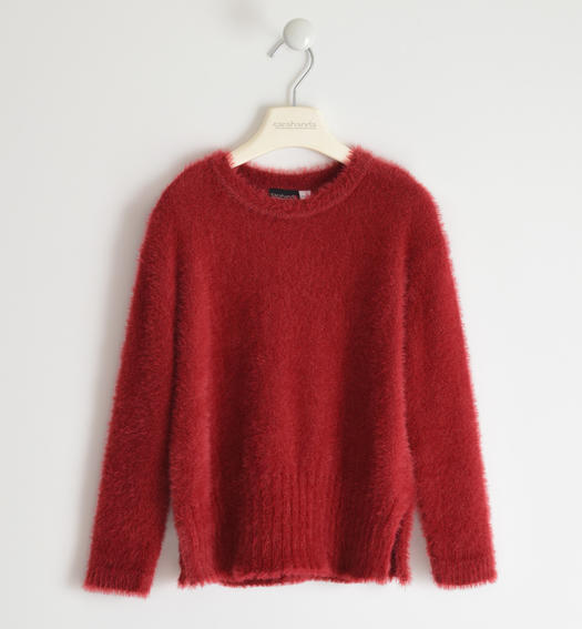 Soft and versatile round neck sweater for girl from 6 to 16 years Sarabanda BORDEAUX-2548