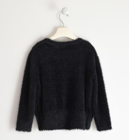 Soft and versatile round neck sweater for girl from 6 to 16 years Sarabanda NERO-0658
