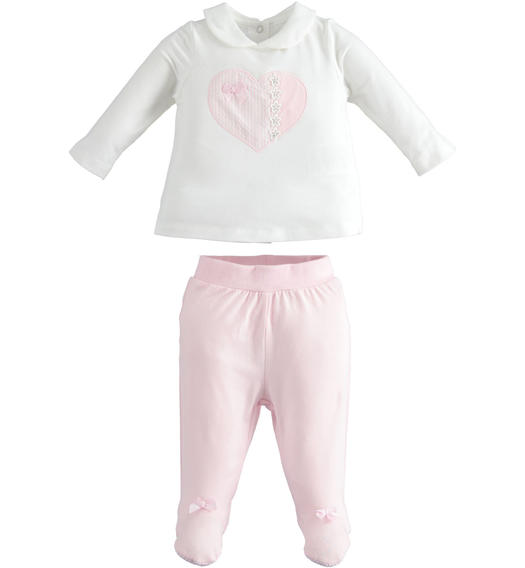Soft stretch cotton chenille two pieces suit for newborn girl from 0 to 24 months Minibanda ROSA-2763