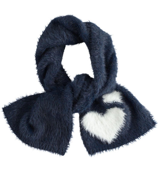 Very soft lurex tricot scarf with hearts for girl from 6 months to 7 years Sarabanda NAVY-3885