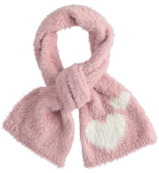 Very soft lurex tricot scarf with hearts for girl from 6 months to 7 years Sarabanda ROSA-3031