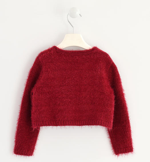 Very warm cardigan made of soft yarn with bows for baby girls from 6 months to 7 years Sarabanda BORDEAUX-2537
