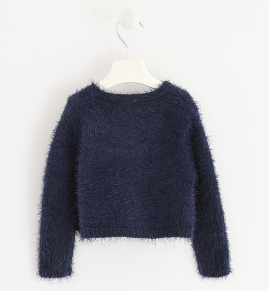 Very warm cardigan made of soft yarn with bows for baby girls from 6 months to 7 years Sarabanda NAVY-3885