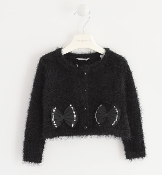 Very warm cardigan made of soft yarn with bows for baby girls from 6 months to 7 years Sarabanda NERO-0658