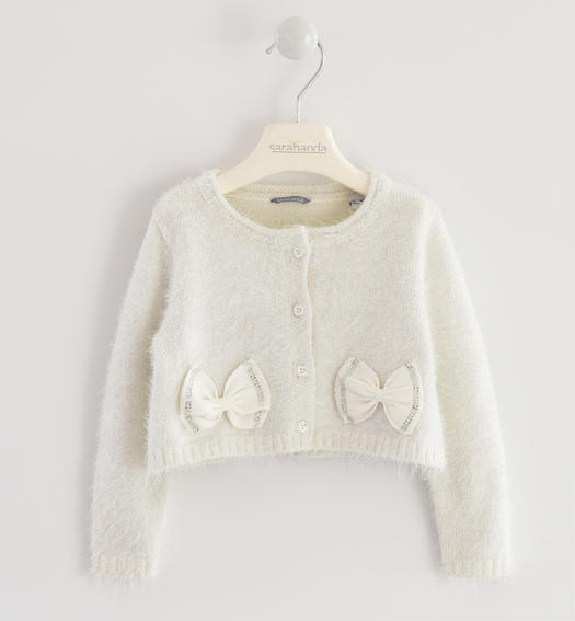 Very warm cardigan made of soft yarn with bows for baby girls from 6 months to 7 years Sarabanda PANNA-0112