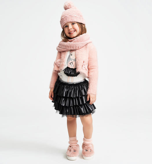 Very warm cardigan made of soft yarn with bows for baby girls from 6 months to 7 years Sarabanda ROSA-2513