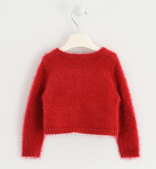 Very warm cardigan made of soft yarn with bows for baby girls from 6 months to 7 years Sarabanda ROSSO-2253