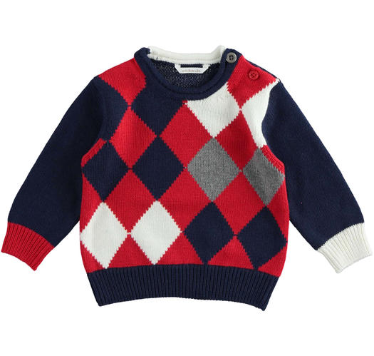 Soft newborn baby color block sweater of cotton, viscose and cashmere blend from 0 to 24 months Minibanda ROSSO-2253