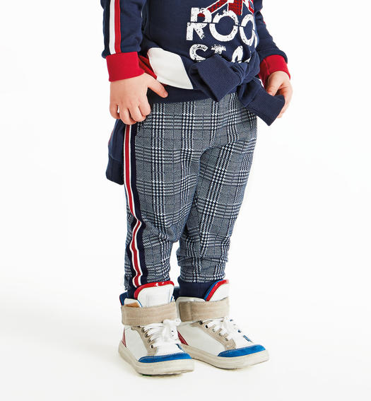 Soft jacquard checked trousers with drawstring for baby boys from 6 months to 7 years Sarabanda NAVY-3854