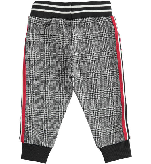 Soft jacquard checked trousers with drawstring for baby boys from 6 months to 7 years Sarabanda NERO-0658