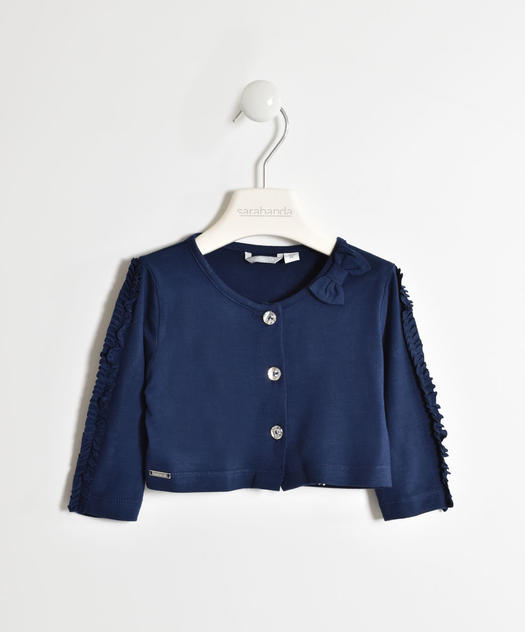 Girl s viscose shrug with three-quarter sleeves for baby girls from 6 months to 7 years Sarabanda NAVY-3854